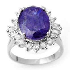 8.03 CTW Tanzanite & Diamond Ring 18K White Gold - REF-308W9F - 10429