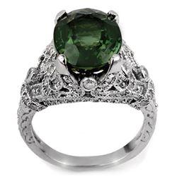 7.10 CTW Green Tourmaline & Diamond Ring 14K White Gold - REF-161A5X - 11408