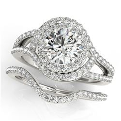 2.47 CTW Certified VS/SI Diamond 2Pc Wedding Set Solitaire Halo 14K White Gold - REF-626M5H - 31268