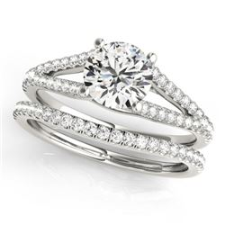 0.88 CTW Certified VS/SI Diamond Solitaire 2Pc Wedding Set 14K White Gold - REF-125F6N - 31979