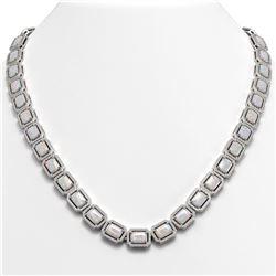 37.69 CTW Opal & Diamond Halo Necklace 10K White Gold - REF-748T4M - 41345