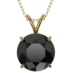 2.58 CTW Fancy Black VS Diamond Solitaire Necklace 10K Yellow Gold - REF-55F5N - 36823