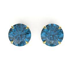 4 CTW London Blue Topaz Designer Solitaire Stud Earrings 18K Yellow Gold - REF-30H2A - 21830