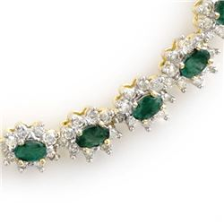 22.0 CTW Emerald & Diamond Necklace 14K Yellow Gold - REF-771X8T - 13987