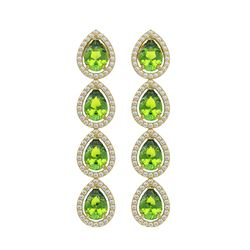 7.46 CTW Peridot & Diamond Halo Earrings 10K Yellow Gold - REF-153K5W - 41167