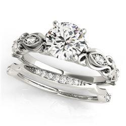 0.71 CTW Certified VS/SI Diamond Solitaire 2Pc Wedding Set Antique 14K White Gold - REF-133N5Y - 314