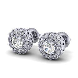 1.32 CTW VS/SI Diamond Solitaire Art Deco Stud Earrings 18K White Gold - REF-245M5H - 37052