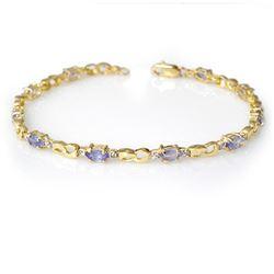 2.06 CTW Tanzanite & Diamond Bracelet 10K Yellow Gold - REF-43F6N - 12586