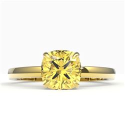 1.50 CTW Cushion Cut Citrine Designer Engagement Ring 18K Yellow Gold - REF-27K3W - 22139