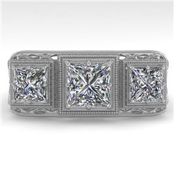 2 CTW Past Present Future VS/SI Princess Diamond Ring 18K White Gold - REF-481N6Y - 36069