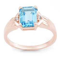 2.03 CTW Blue Topaz & Diamond Ring 18K Rose Gold - REF-35F5N - 11069