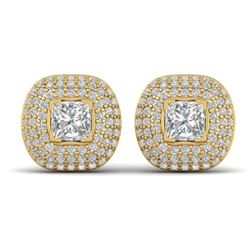 2 CTW Princess VS/SI Diamond Art Deco Stud Micro Halo Earrings 14K Yellow Gold - REF-255N3Y - 30449