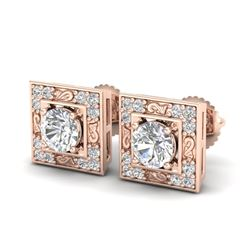 1.63 CTW VS/SI Diamond Solitaire Art Deco Stud Earrings 18K Rose Gold - REF-254F5N - 37269