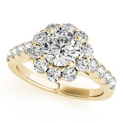2.1 CTW Certified VS/SI Diamond Solitaire Halo Ring 18K Yellow Gold - REF-262F9N - 26373