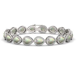 13.19 CTW Opal & Diamond Halo Bracelet 10K White Gold - REF-301F5N - 41105