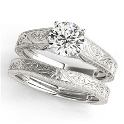 0.75 CTW Certified VS/SI Diamond Solitaire 2Pc Wedding Set 14K White Gold - REF-183T5M - 31865