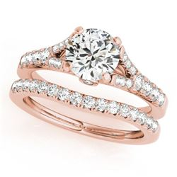1.56 CTW Certified VS/SI Diamond Solitaire 2Pc Wedding Set 14K Rose Gold - REF-213F5N - 31749