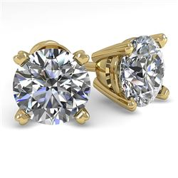2.0 CTW VS/SI Diamond Stud Designer Earrings 14K Yellow Gold - REF-528A2X - 38372