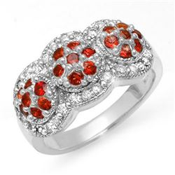 1.50 CTW Red Sapphire & Diamond Ring 14K White Gold - REF-76A2X - 10655