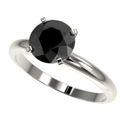 2 CTW Fancy Black VS Diamond Solitaire Engagement Ring 10K White Gold - REF-54Y2K - 32935