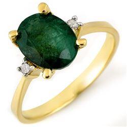 1.54 CTW Emerald & Diamond Ring 14K Yellow Gold - REF-22H2A - 10377