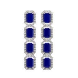 12.33 CTW Sapphire & Diamond Halo Earrings 10K White Gold - REF-158F4N - 41432