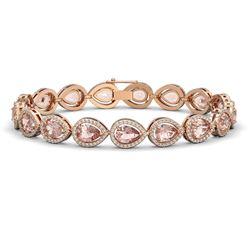 16.59 CTW Morganite & Diamond Halo Bracelet 10K Rose Gold - REF-388H2A - 41103