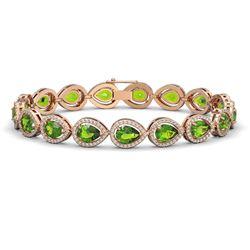16.08 CTW Peridot & Diamond Halo Bracelet 10K Rose Gold - REF-312F2N - 41118