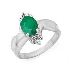 1.53 CTW Emerald & Diamond Ring 18K White Gold - REF-42F2N - 14111