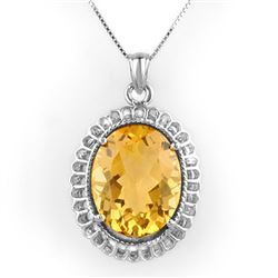 12.0 CTW Citrine Necklace 14K White Gold - REF-72X4T - 10326