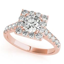 2 CTW Certified VS/SI Diamond Solitaire Halo Ring 18K Rose Gold - REF-430K2W - 26833