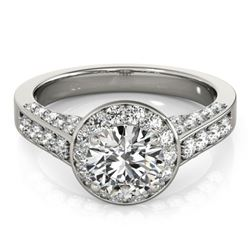 1.8 CTW Certified VS/SI Diamond Solitaire Halo Ring 18K White Gold - REF-425K3W - 26784