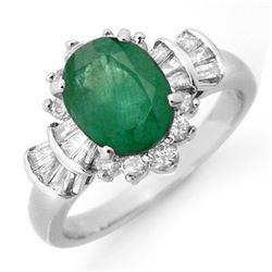 2.01 CTW Emerald & Diamond Ring 18K White Gold - REF-96T4M - 13325