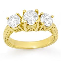 1.50 CTW Certified VS/SI Diamond 3 Stone Ring 14K Yellow Gold - REF-236F5N - 14308