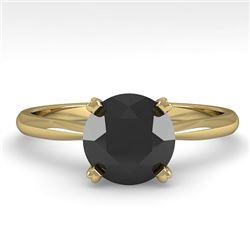 1.50 CTW Black Diamond Engagement Designer Ring 18K Yellow Gold - REF-64T9M - 32440