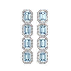 11.54 CTW Aquamarine & Diamond Halo Earrings 10K White Gold - REF-193M3H - 41450