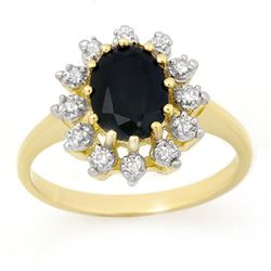 2.04 CTW Blue Sapphire & Diamond Ring 10K Yellow Gold - REF-25X5T - 13290