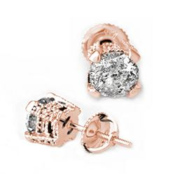 2.0 CTW Certified VS/SI Diamond Solitaire Stud Earrings 14K Rose Gold - REF-457M2H - 10455