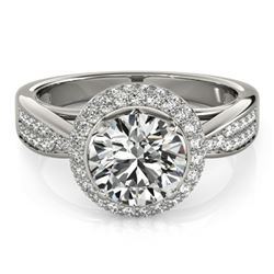 1.65 CTW Certified VS/SI Diamond Solitaire Halo Ring 18K White Gold - REF-400K2W - 27006