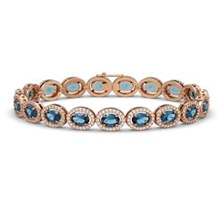 14.82 CTW London Topaz & Diamond Halo Bracelet 10K Rose Gold - REF-232Y5K - 40488