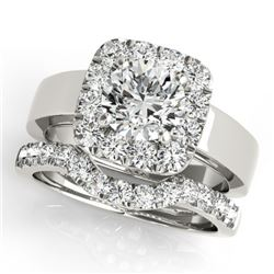 2.05 CTW Certified VS/SI Diamond 2Pc Wedding Set Solitaire Halo 14K White Gold - REF-439Y8K - 31229