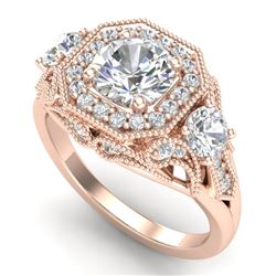 2.11 CTW VS/SI Diamond Solitaire Art Deco 3 Stone Ring 18K Rose Gold - REF-490A9X - 37329