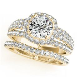 1.94 CTW Certified VS/SI Diamond 2Pc Wedding Set Solitaire Halo 14K Yellow Gold - REF-254Y5K - 31141