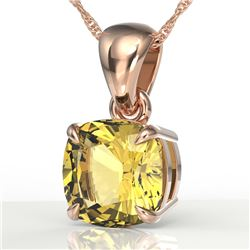1.50 Cushion Cut CTW Citrine Designer Solitaire Necklace 14K Rose Gold - REF-20K2W - 21937