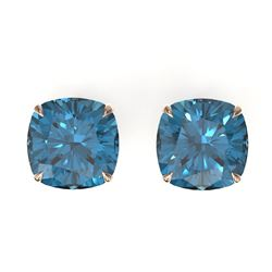 12 CTW Cushion Cut London Blue Topaz Designer Stud Earrings 14K Rose Gold - REF-35A6X - 21788