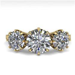 2 CTW Past Present Future Certified VS/SI Diamond Ring 18K Yellow Gold - REF-414Y2K - 35776