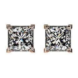 2 CTW Certified VS/SI Quality Princess Diamond Stud Earrings 10K Rose Gold - REF-585T2M - 33095