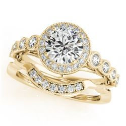 1.6 CTW Certified VS/SI Diamond 2Pc Wedding Set Solitaire Halo 14K Yellow Gold - REF-402A4X - 30851