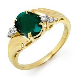 1.67 CTW Emerald & Diamond Ring 10K Yellow Gold - REF-20H5A - 12916
