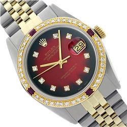 Rolex Men's Two Tone 14K Gold/SS, QuickSet, Diam Dial & Diam/Ruby Bezel - REF-557A2N